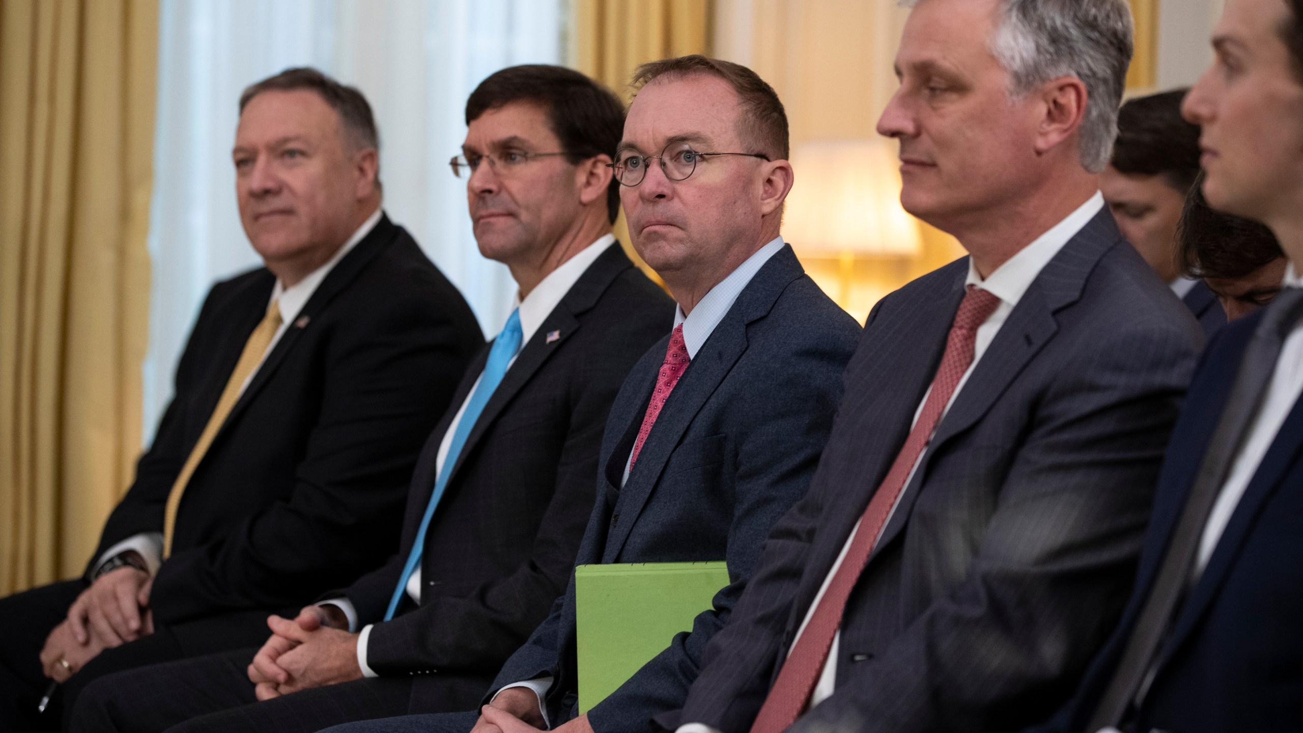 Mike Pompeo, Mark Esper, Mick Mulvaney, Robert C. O'Brien, Jared Kushner