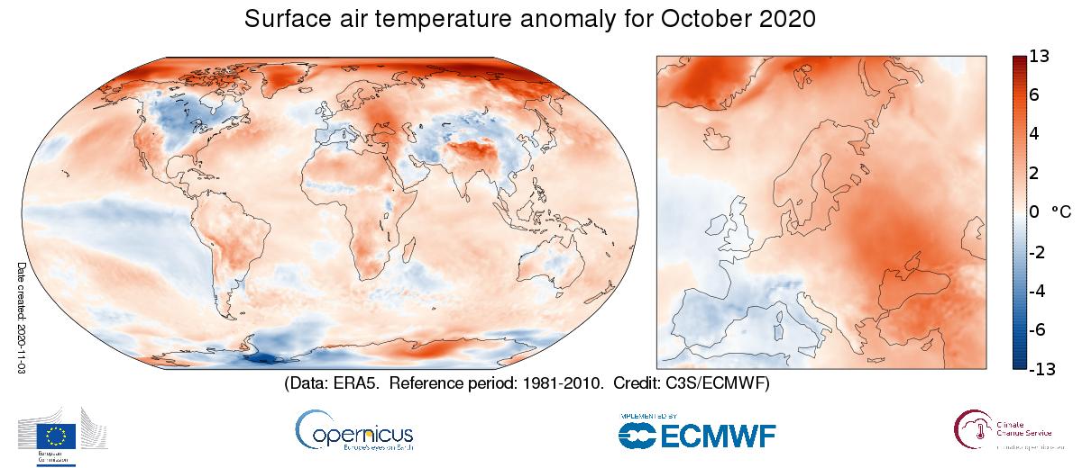 Copernicus Surface Temperature Analysis for October 2020  Credit: Copernicus Climate Change Service/ECMWF